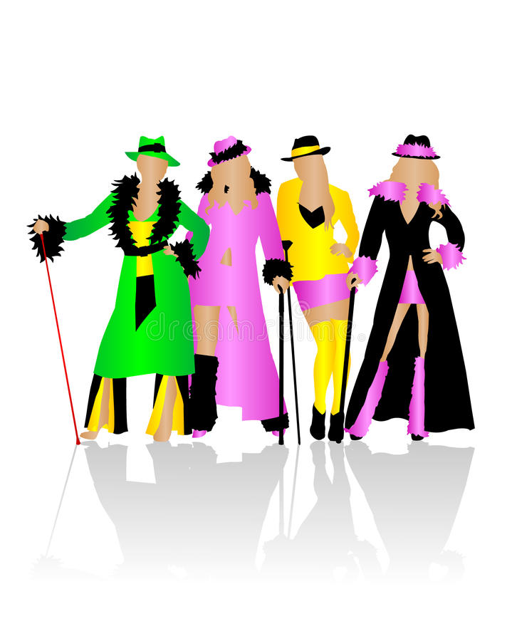 Silhouettes masquerade costumes royalty free illustration
