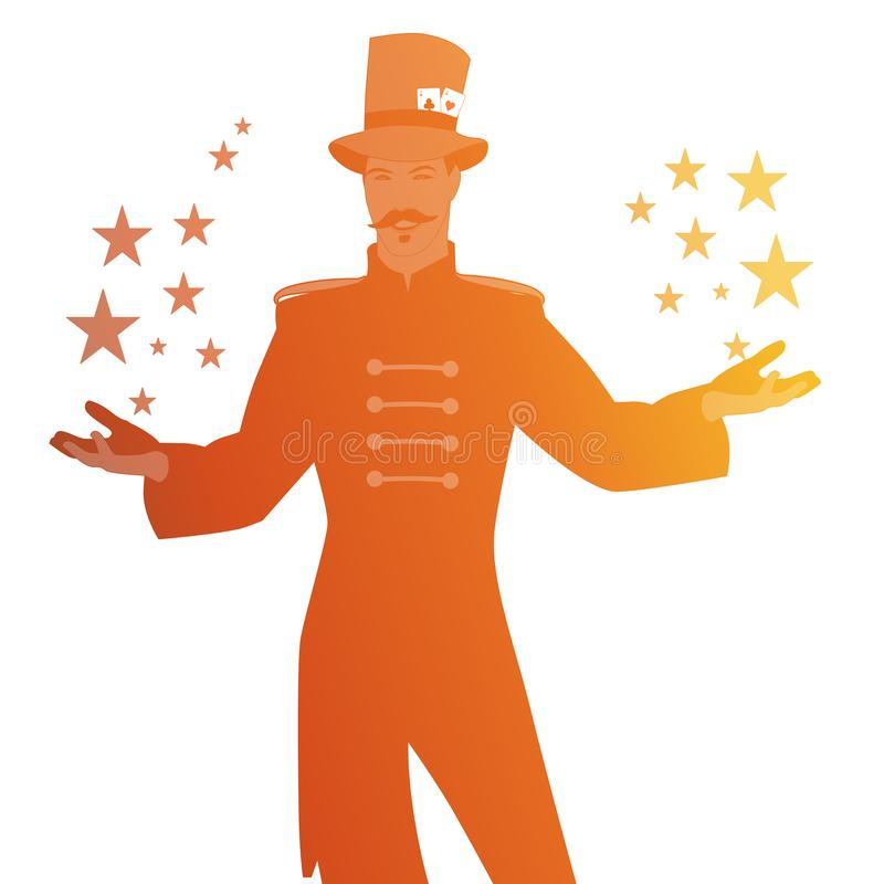 Silhouettes of master of ceremonies with mustache, wearing top hat adorned with playing cards, showing stars in his hands,. Isolated on white background royalty free illustration
