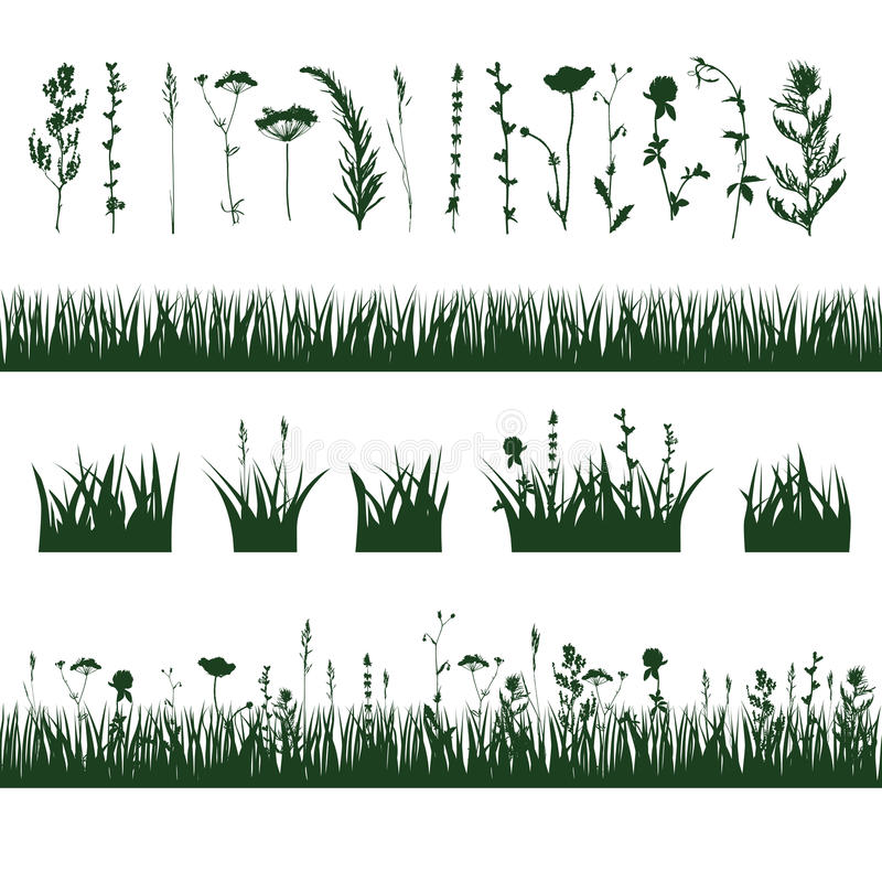 Silhouettes meadow grass stock illustration