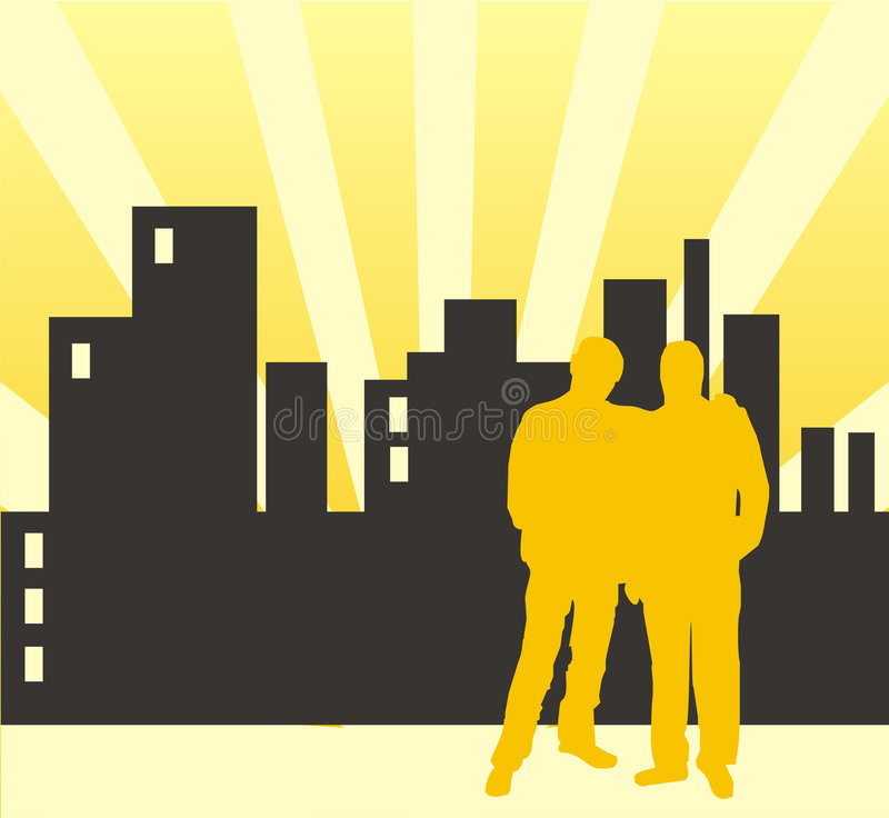 Silhouettes of men stock images