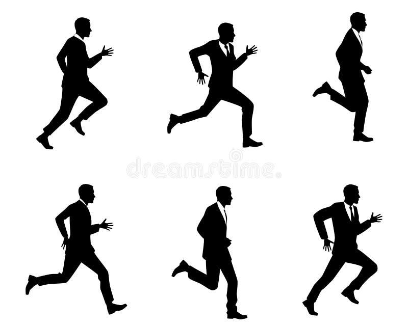 Silhouettes of men running stock illustration