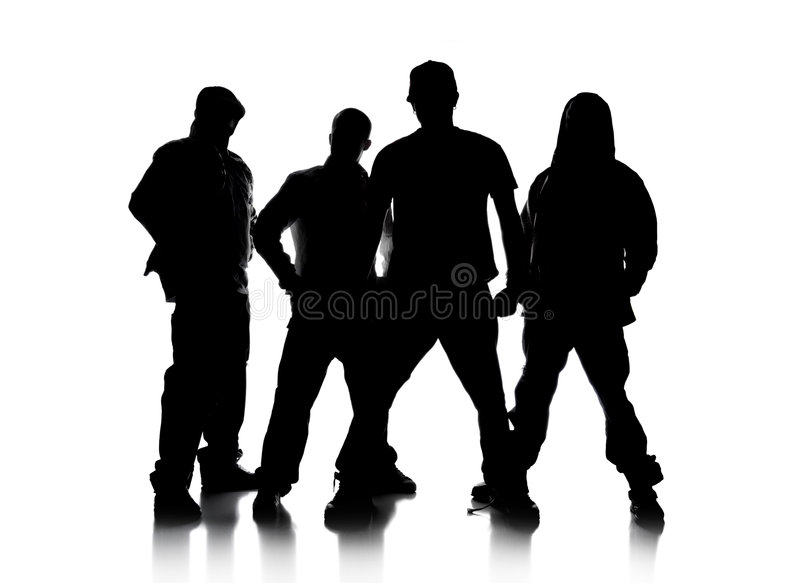 Silhouettes of Men Standing royalty free stock images