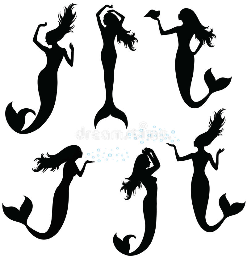 Silhouettes of a mermaid. stock illustration
