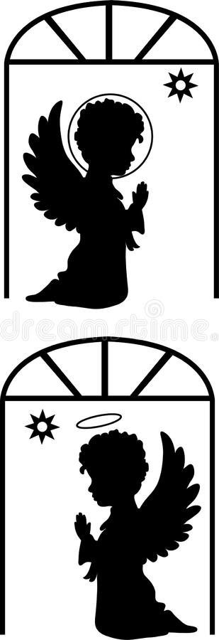 Silhouettes mignonnes d'anges réglées illustration stock