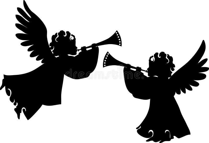 Silhouettes mignonnes d'anges réglées illustration libre de droits