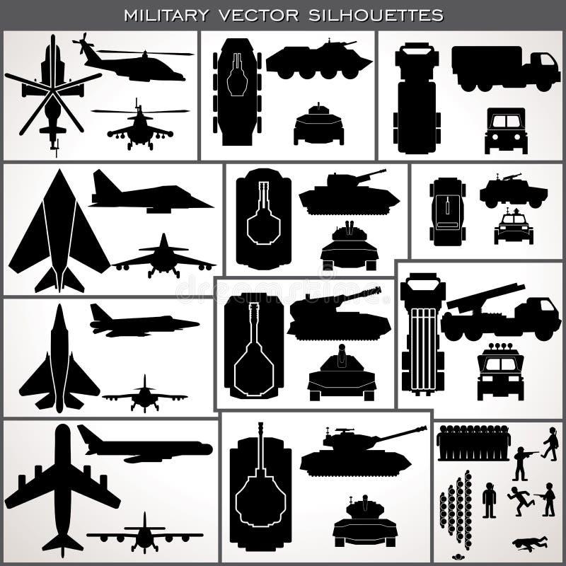 Silhouettes militaires abstraites Collection de vecteur illustration stock