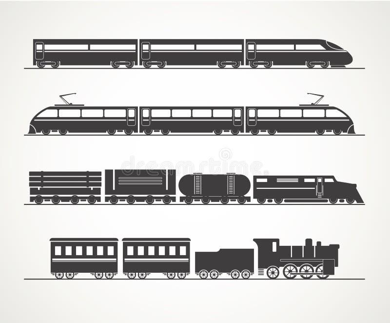 Silhouettes modernes et de vintage de train illustration stock