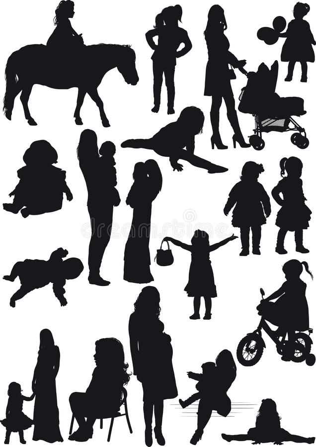 Silhouettes of mother and daughter stock photo