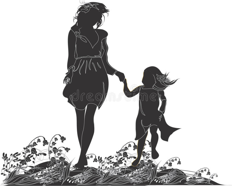 Silhouettes Of Mother And Her Daughter Stock Photo
