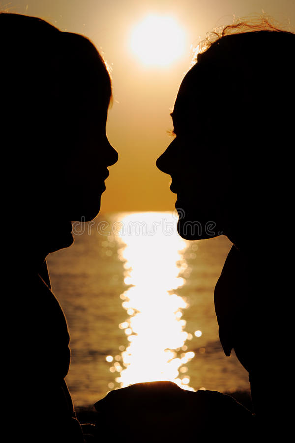 Download Silhouettes Of Mother And Son Stock Image - Image of mother, black: 17215757