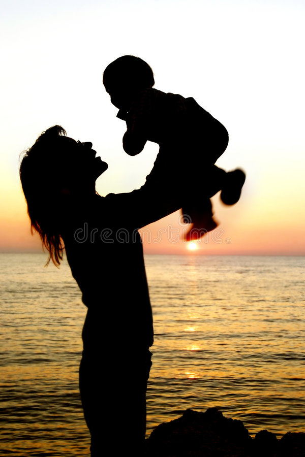 Download Silhouettes Of Mother And Son Partly Isolated Over Stock Photo - Image: 5845860
