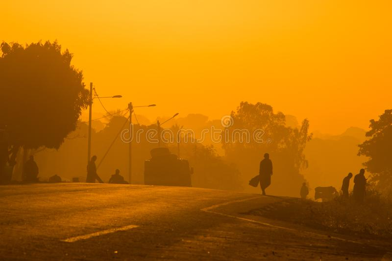 The silhouettes of Mozambican commuters stock photo