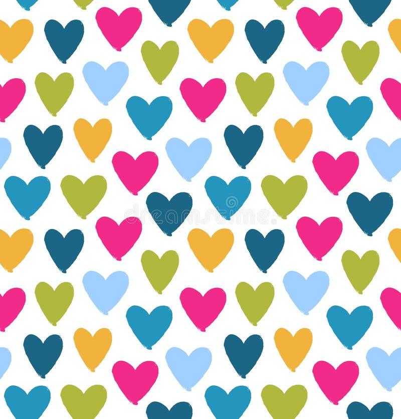 Silhouettes multicolores tirées de coeur sur le fond blanc Jour du ` s de Valentine de saint Symbole de l'amour sur le modèle san illustration libre de droits