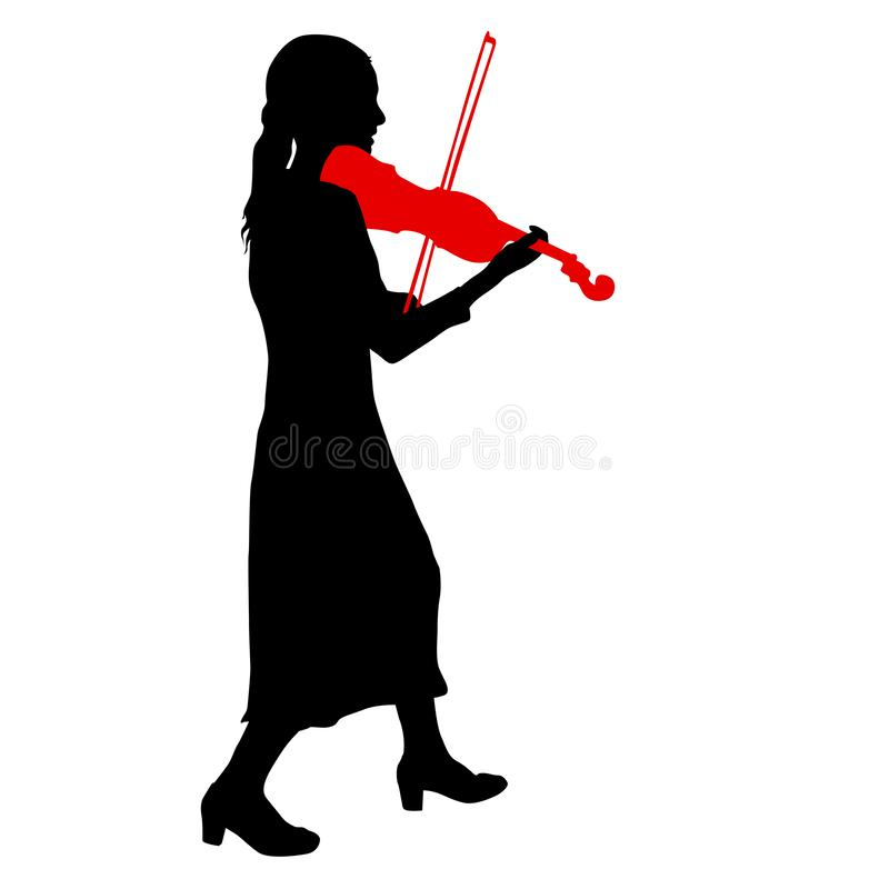 Silhouettes a musician violinist playing the violinon a white background.  vector illustration