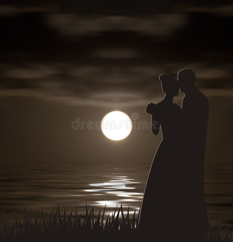 Silhouettes in night landscape vector illustration