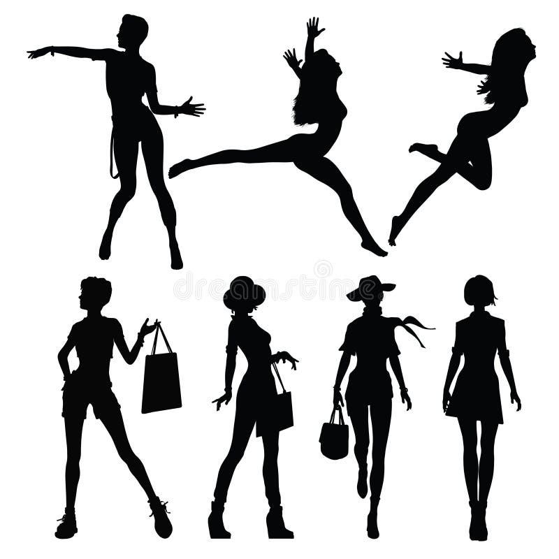 Silhouettes noires de belles femmes illustration de vecteur