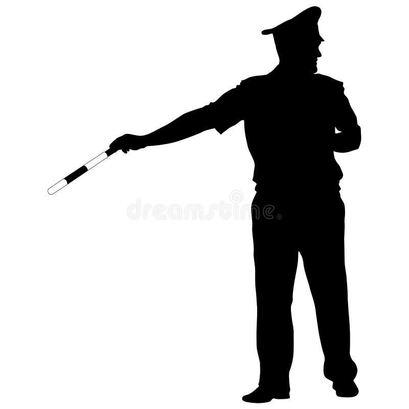 Silhouettes noires de policier avec une tige sur le fond blanc illustration de vecteur