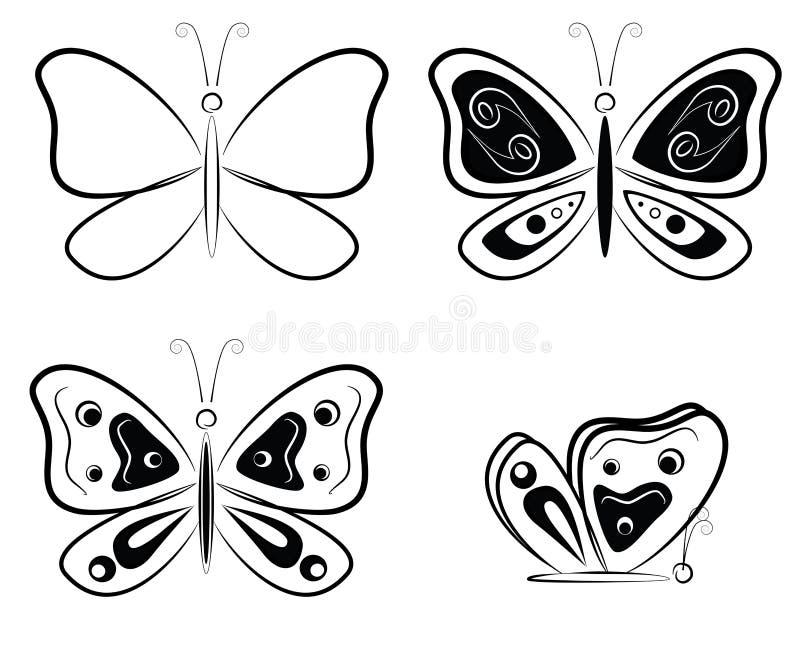 Silhouettes noires et blanches de papillons - illustration de vecteur photo stock