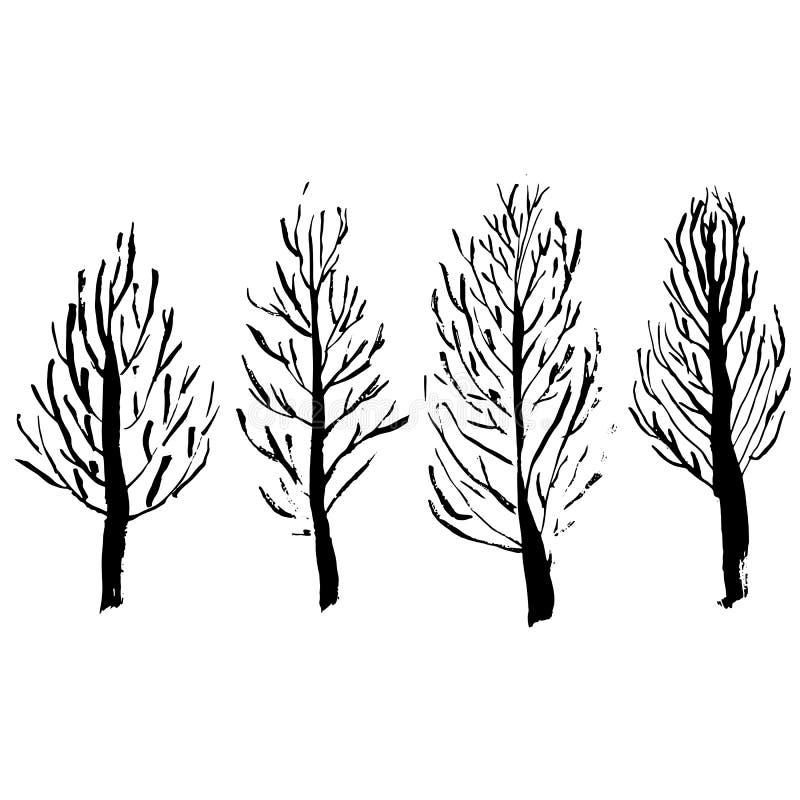 Silhouettes nues d'arbres Ensemble tiré par la main Illustration de vecteur illustration libre de droits