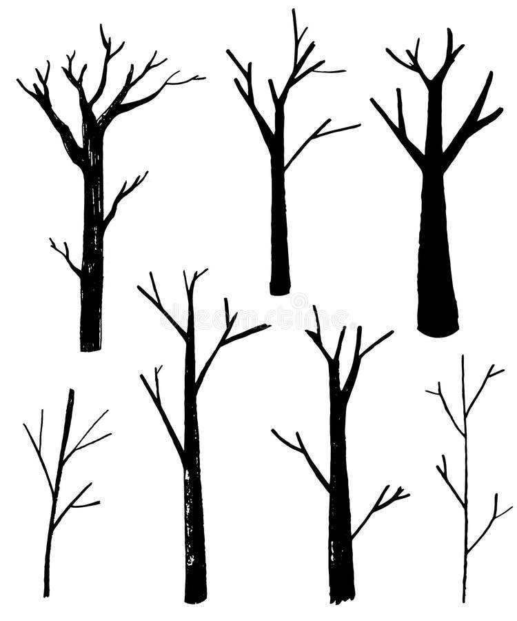 Silhouettes nues d'arbres réglées Illustrations d'isolement tirées par la main Retrait de nature illustration de vecteur