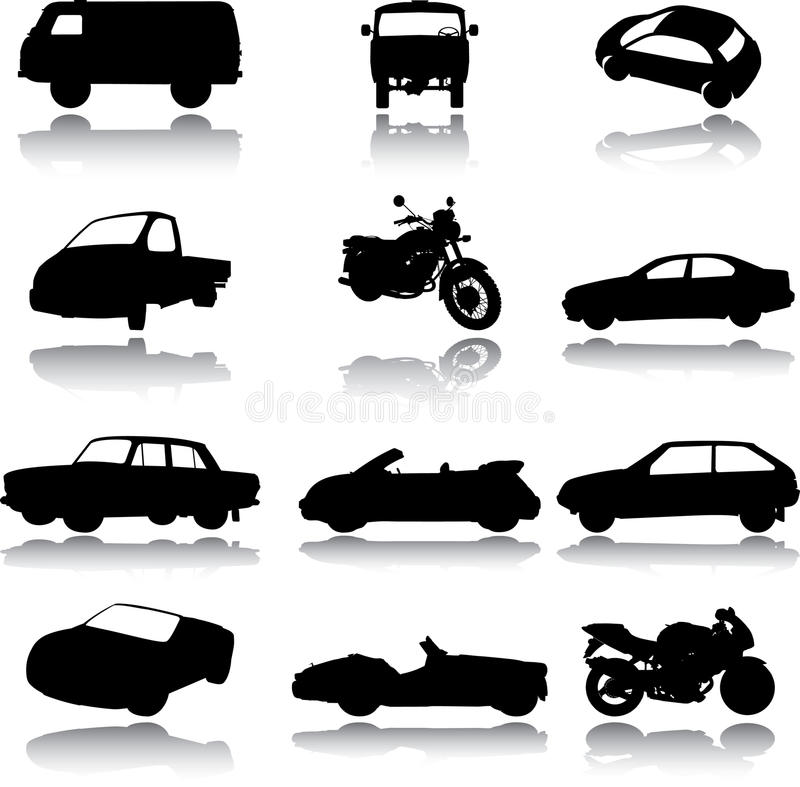 Free Silhouettes Of Cars, Motorcycles And Buses Stock Photos - 14592333