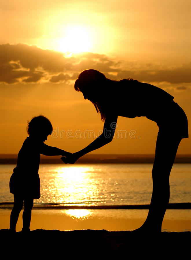 Free Silhouettes Of The Women And Child Stock Image - 10915311