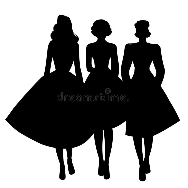 Free Silhouettes Of Three Girls Wearing Retro Clothes Walking Together Isolated On White Background Stock Images - 195920874