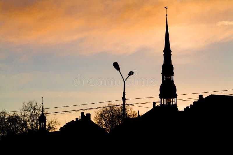 Silhouettes of old city Riga. Riga is the capital of Latvia royalty free stock photos