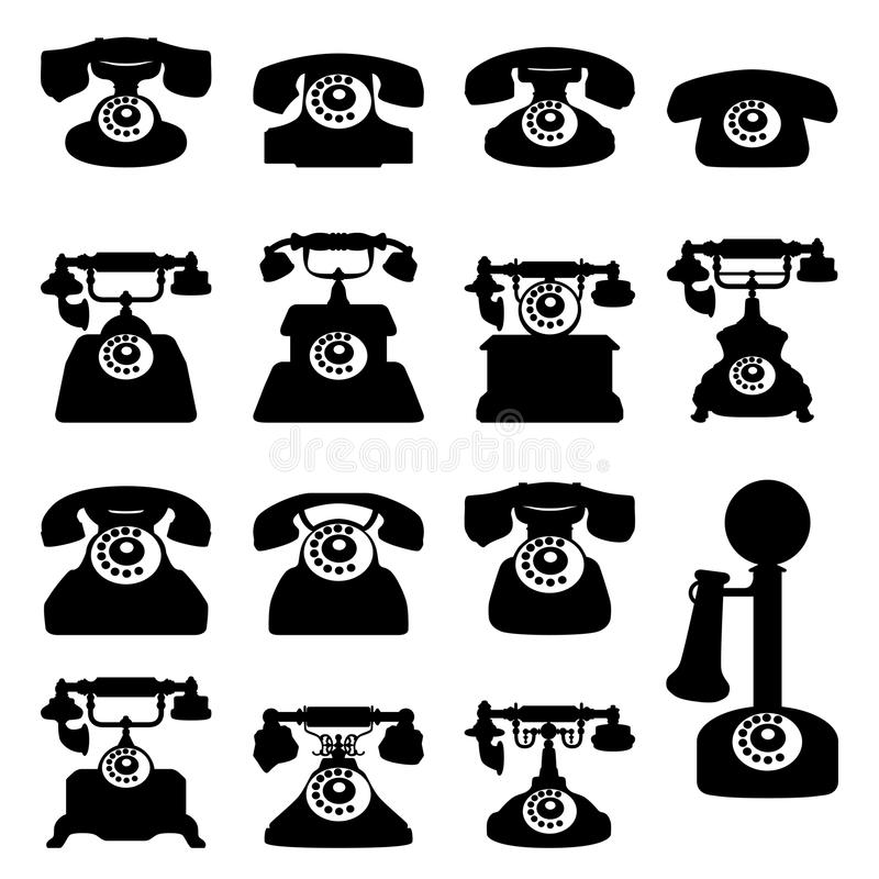 Silhouettes of old phones, flat icons. stock illustration