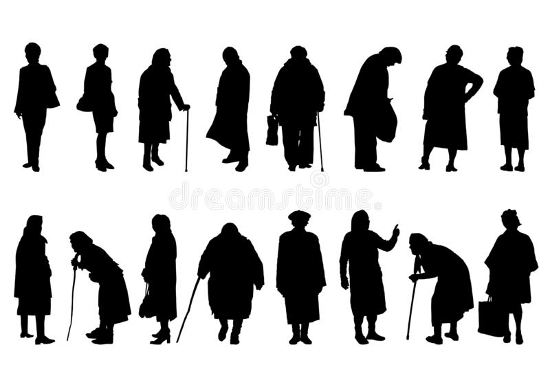 Silhouettes of older women in different movements stock illustration