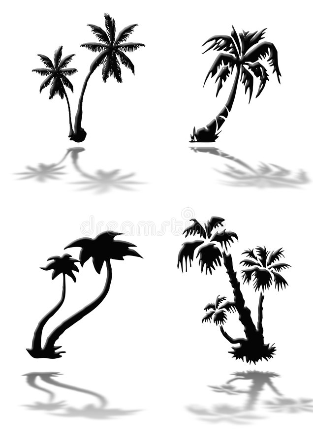 Silhouettes of palm trees stock illustration