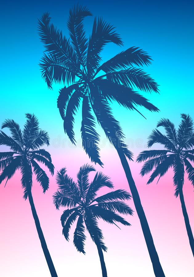 Silhouettes of palm trees against the background of morning sunrise in the sky. Vector art illustration royalty free illustration