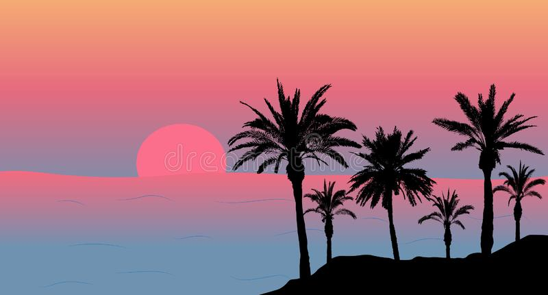 Silhouettes of palm trees near the sea at sunset. Vector illustration.  vector illustration
