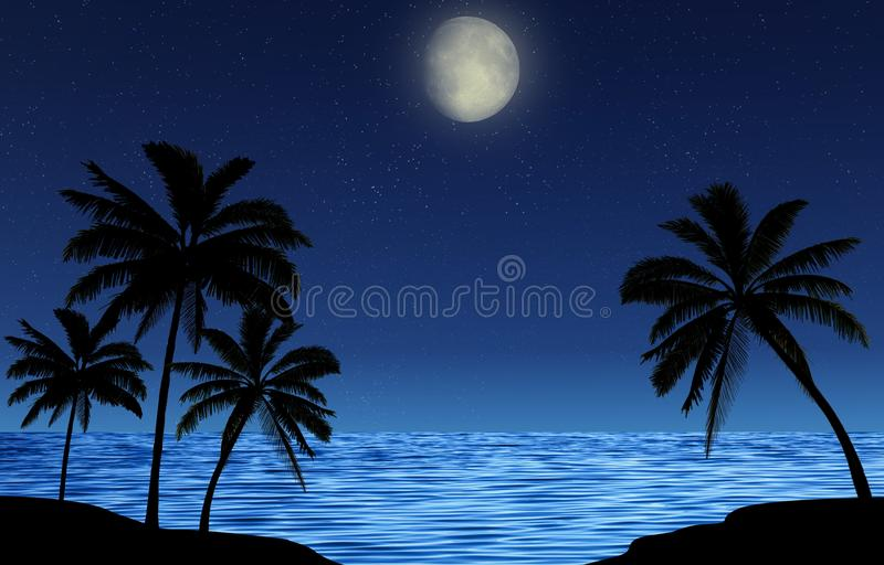 Silhouettes of palm trees at night by the sea with a starry sky and a shining moon. Romantic landscape. Silhouettes of palm trees at night by the sea with a royalty free illustration