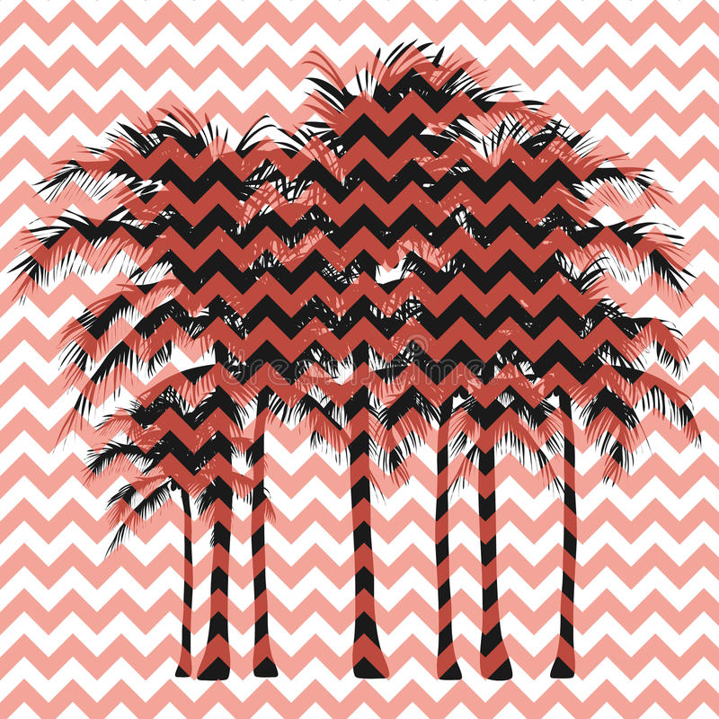 Silhouettes of palm trees on a pink background. Palm trees on a pink zigzag background royalty free illustration