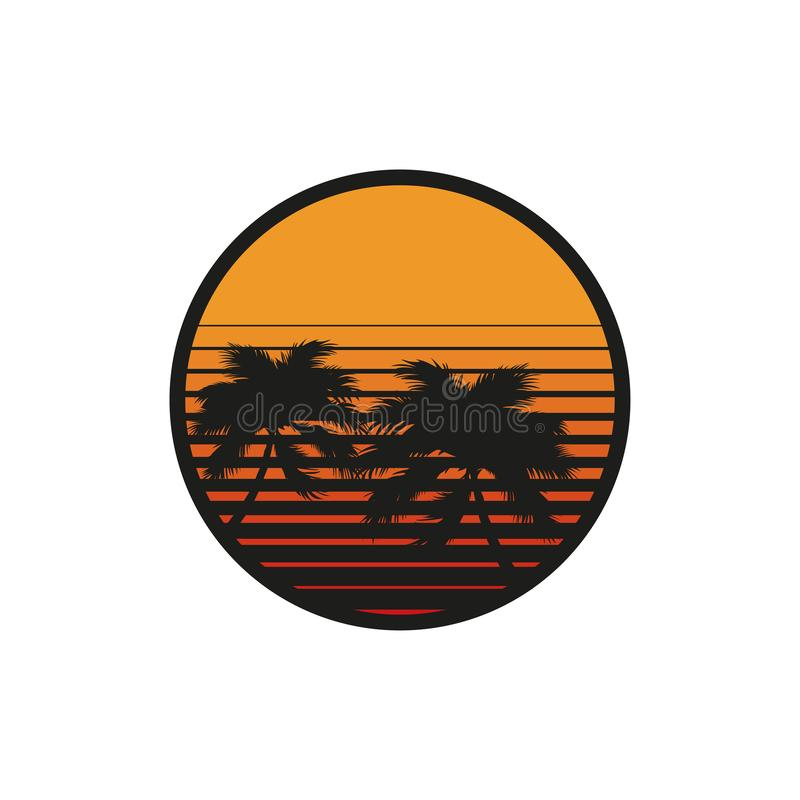 Silhouettes of palm trees at sunset in flat. Style vector illustration