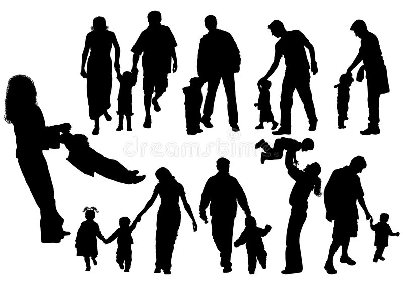 Silhouettes of parents with baby, vector royalty free stock photos