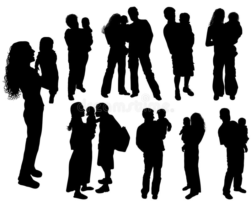 Silhouettes of parents with baby, vector royalty free stock image