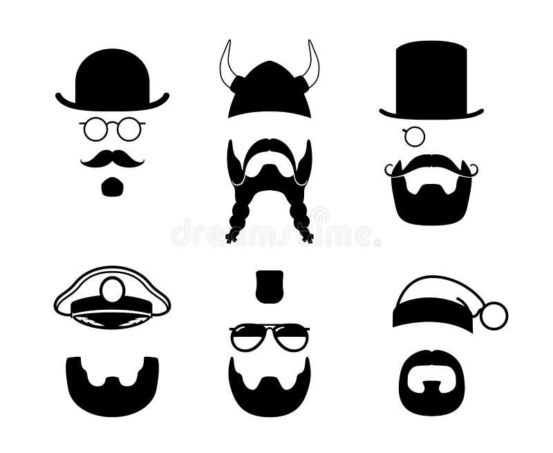 Silhouettes parts of face. Mustache, beard, hair stock illustration