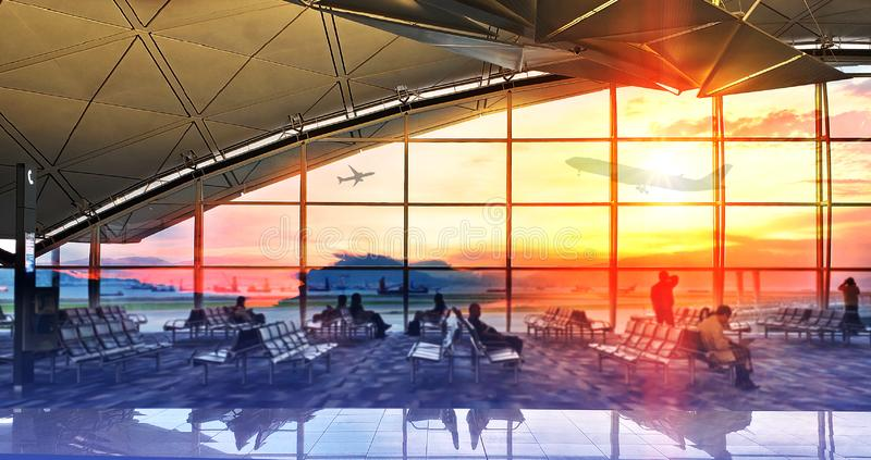 Silhouettes passenger airport. Airline travel concept. Silhouettes passenger airport terminal. Airline travel concept stock photography