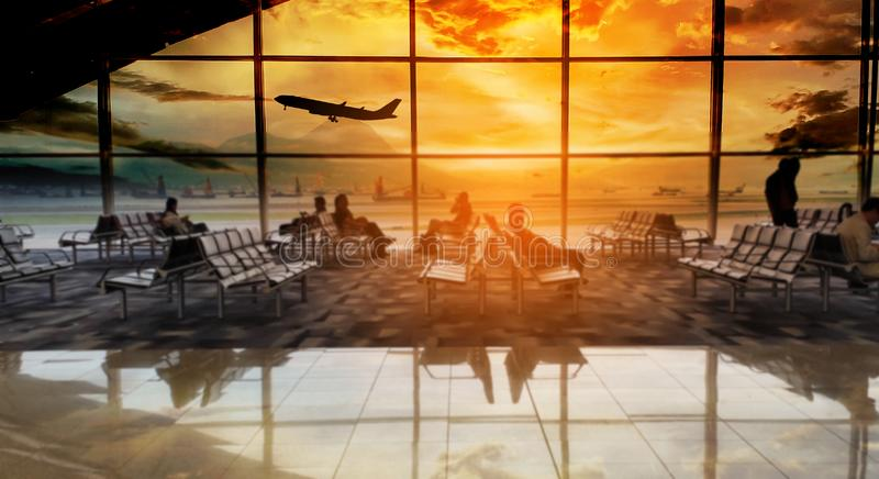 Silhouettes passenger airport terminal. Airline travel concept. Silhouettes passenger airport. Airline travel concept royalty free stock photography
