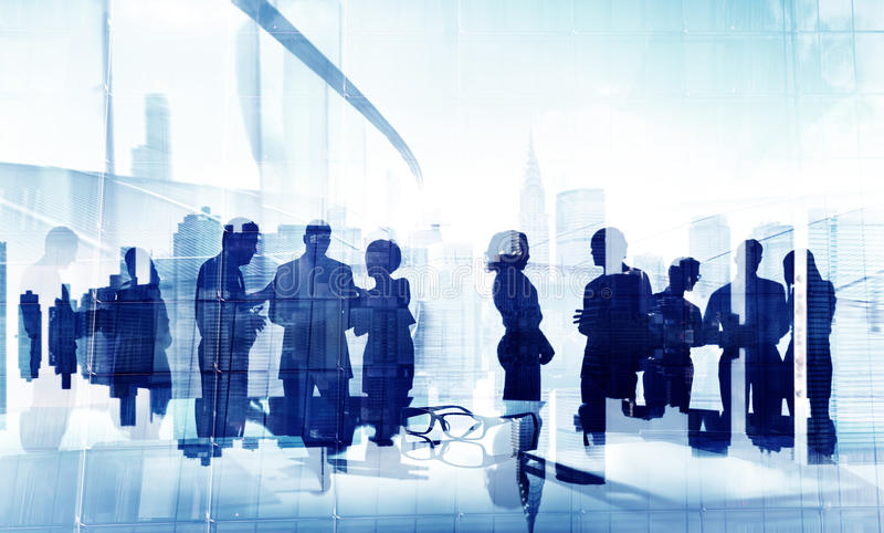 Silhouettes of People Brainstorming in Groups stock photos
