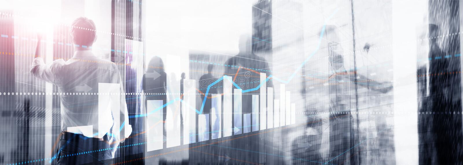 Silhouettes of people on city background for financial investment or Economic trends business idea and art work design. Abstract Double exposure Universal royalty free stock images