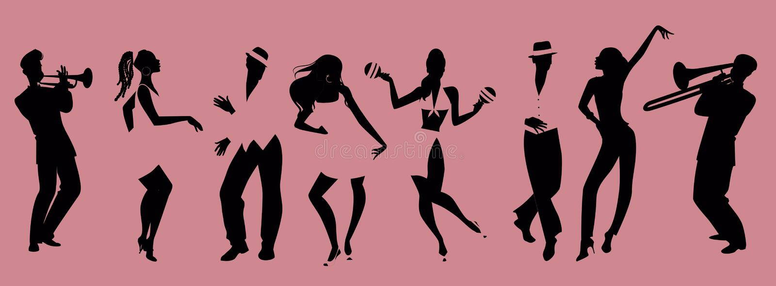 Silhouettes of people dancing salsa and musicians playing royalty free illustration