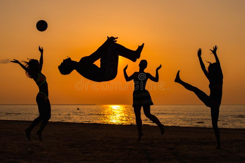Download Silhouettes Of A People Having Fun On A Beach Stock Image - Image: 42492191