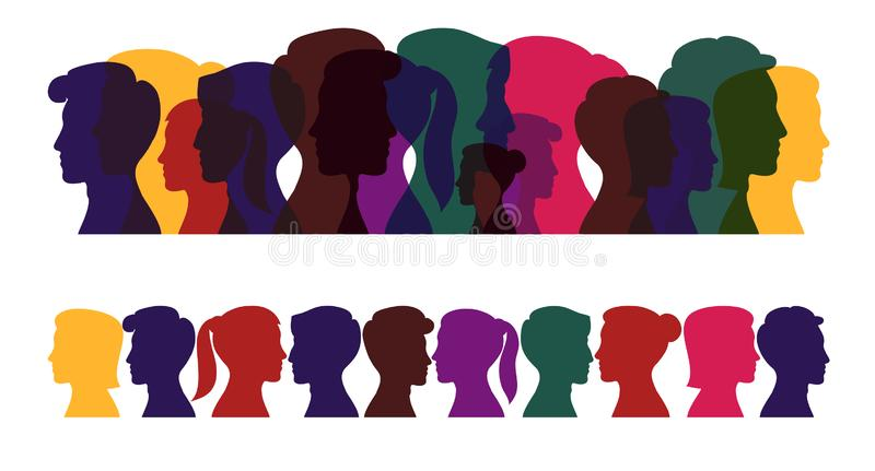 Silhouettes of people, multicolored profile of men and women vector illustration