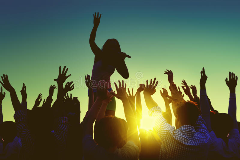 Download Silhouettes Of People At Outdoors Music Festival Stock Image - Image: 41699587