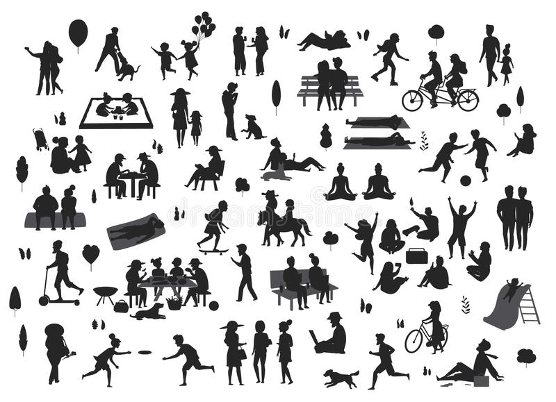 Silhouettes of people in the park scenes set , men women children play, relax, dance, eat, talk ride bikes. Read royalty free illustration