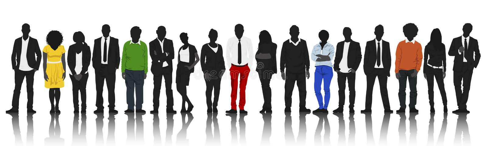 Silhouettes of People in a Row with some Colour royalty free illustration