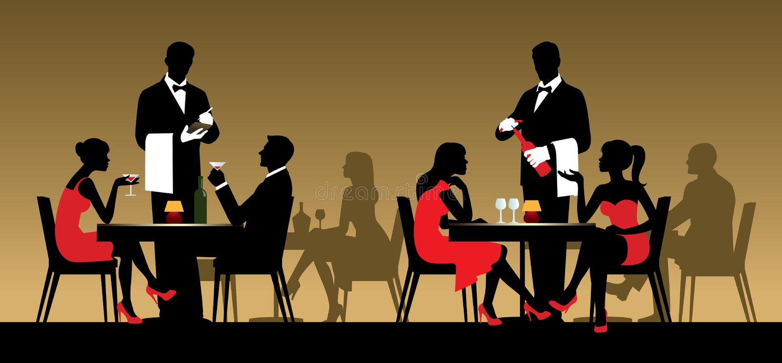 Silhouettes of people sitting at tables in a restaurant or night stock illustration